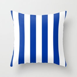 Dark Princess Blue and White Wide Vertical Cabana Tent Stripe Throw Pillow