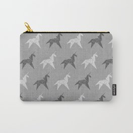 Origami Unicorn Grey Carry-All Pouch