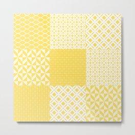 Yellow Patchwork Decoration Marrakesh Tiles Spanish Tails Decor Sunflower Art Kitchen Bath Metal Print