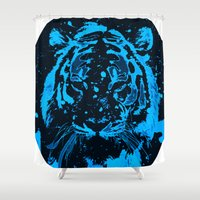 tiger Shower Curtains featuring Tiger!  by PearGraphics