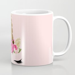 Pink Roses Gold Glitter Unicorn Coffee Mug