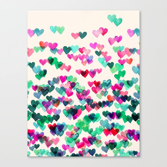 Heart Connections II - watercolor painting (color variation) Canvas Print