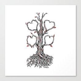 Gnarly Oak Tree Heart Tattoo Canvas Print