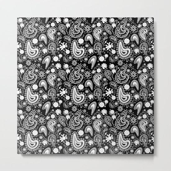Paisley Power Black and White Metal Print