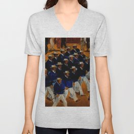 Classical African American Landscape 'Elks Marching' by Malvin Gray Johnson Unisex V-Neck