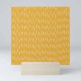 Raindrop Abstract Boho Pattern, Yellow Mini Art Print