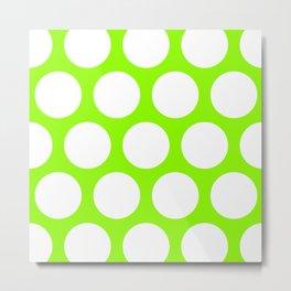 Large Polka Dots: Lime Green Metal Print