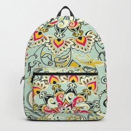 Robin's egg blue floral mandala Backpack