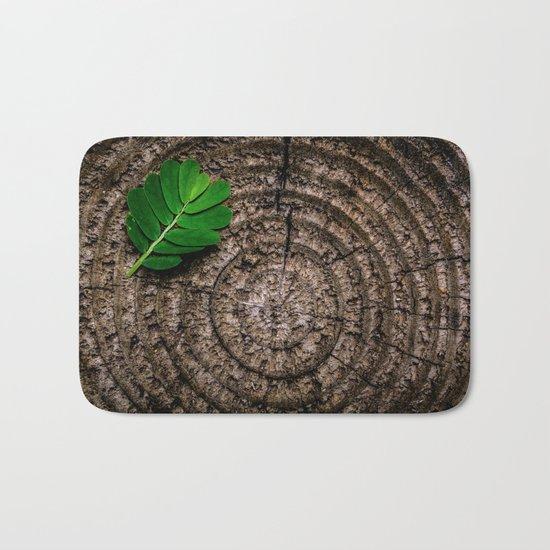 Green leaf Brown wood Bath Mat