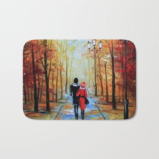 romantic autumn stroll Bath Mat