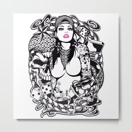 GIRL with SKULL AND SNAKE - PINK Metal Print