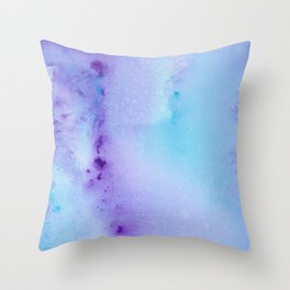 Abstract Watercolor Art Blue And Purple Modern Painting Throw Pillow