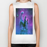 nebula Biker Tanks featuring Nebula Purple Blue Pink by 2sweet4words Designs