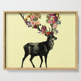 Spring Itself Deer Floral (Cream) Serving Tray