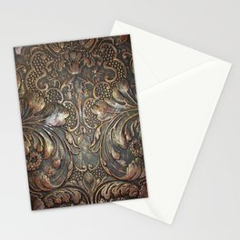 Golden Brown Carved Tooled Leather Stationery Cards