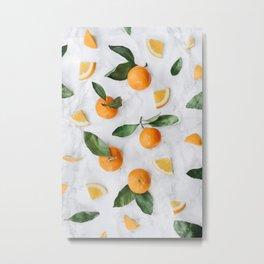 Marble + Orange Grove Metal Print
