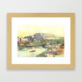 Chicago Color Print of 1893 World's Fair Lagoon and Buildings Framed Art Print