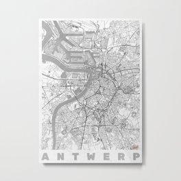 Antwerp Map Line Metal Print