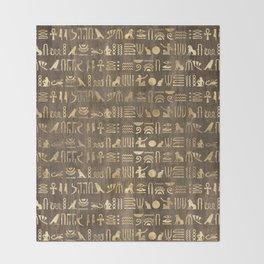 Brown & Gold Ancient Egyptian Hieroglyphic Script Throw Blanket