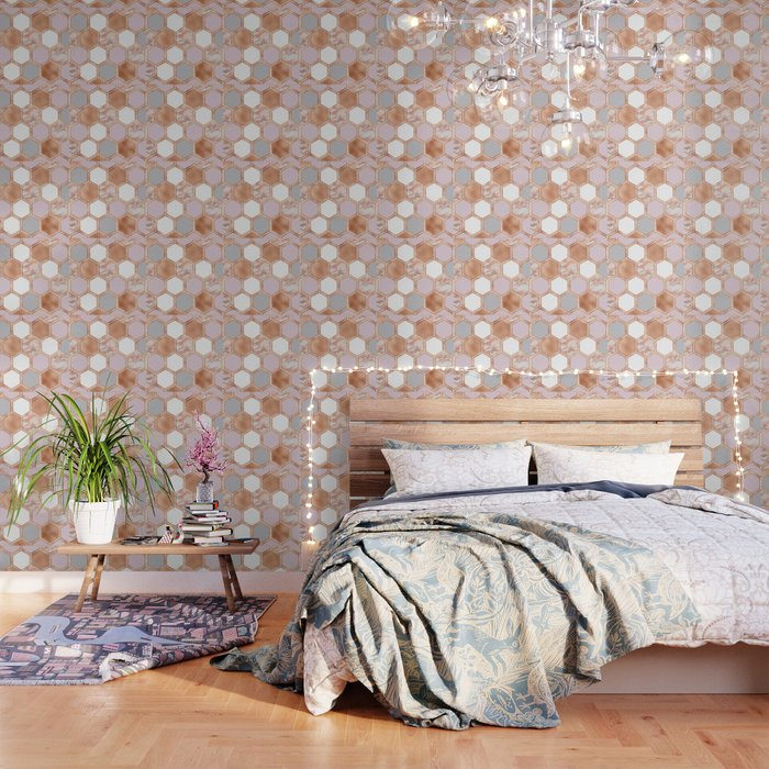 Mixed Rose Gold Pinks And Marble Geometric Wallpaper By Marbleco