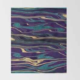 Stylish gold abstract marbleized paint image Throw Blanket