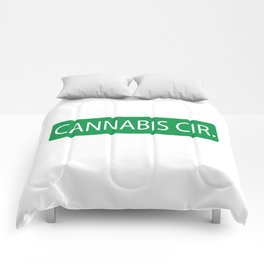 Cannabis Circle Street Sign Comforters