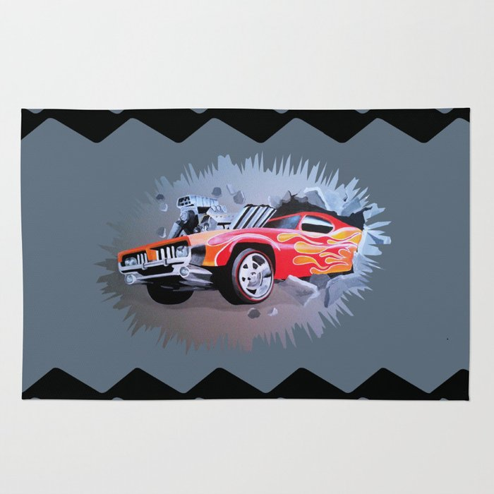 Hot Wheels Car Crashing Through Grey Wall Rug By Melissajbarrett