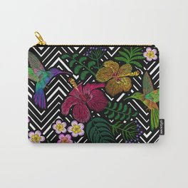 Hummingbird around flower plumeria hibiscus Frangipani exotic  Embroidery Carry-All Pouch