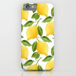 Yellow Lemon Watercolor Fruit iPhone Case
