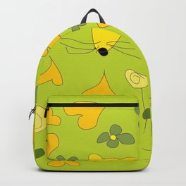Yellow Mice Hearts and Flowers Digital Love Art Backpack