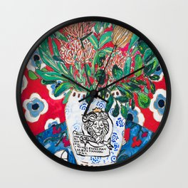 Rex Manning Day Red Floral Still Life with Lion Vase Wall Clock