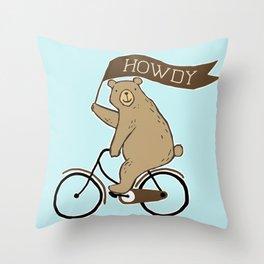Friendly Neighborhood Bicycle Bear Throw Pillow