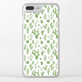 Green cacti on white Clear iPhone Case