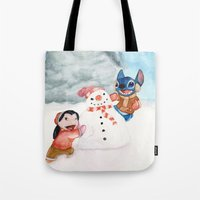 lilo and stitch Tote Bags featuring Lilo and Stitch by Walko