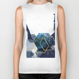 Abstract Landscape in Navy + Gold Biker Tank