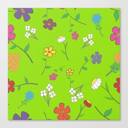 Background - floral seamless with a variety of flowers Canvas Print