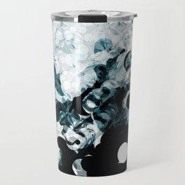 Modern Splash of Turquoise Black White Design Travel Mug