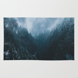 Foggy Forest Mountain Valley - Landscape Photography Rug