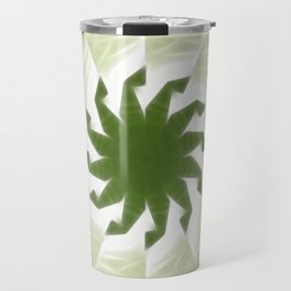 Green White Kaleidoscope Art 1 Travel Mug