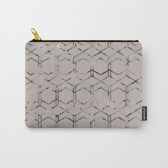 Silver Geometric Art Deco - Gatsby Taupe Carry-All Pouch