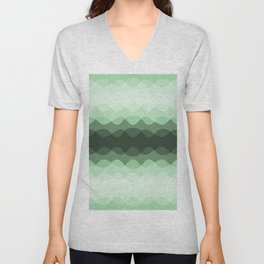 Pastel Mint Green Overlapping Wavy Line Pattern Pairs to Coloro 2020 Color of the Year Neo Mint Unisex V-Neck