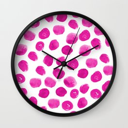 Lila - pink polka dots painted abstract minimal modern office dorm college decor Wall Clock