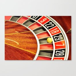 casino roulette wheel with the ball on number 29 Canvas Print