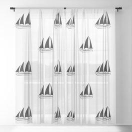 Black Sailboat Pattern Sheer Curtain