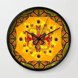 YELLOW SUNFLOWERS & MONARCH BUTTERFLIES Wall Clock