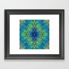 Lila's Flowers Repeat Blue Framed Art Print