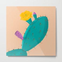 Botanical Cactus Opuntial Flower Illustration in the Western Dessert Metal Print