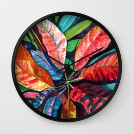 Colorful Tropical Leaves 2 Wall Clock