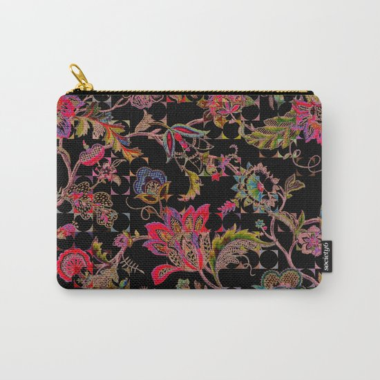 ancient floral on black background Carry-All Pouch