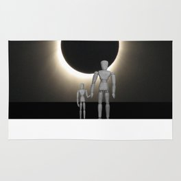 Wooden Anatomy Father Doll and Child before Total Solar Eclipse Rug